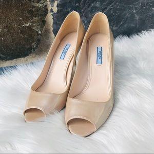 COPY - Prada nude patent leather open toe pumps